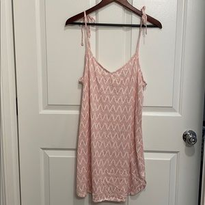 H&M Pink and White Patterned Spaghetti Strap Dress